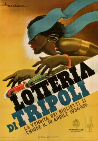 Vintage Italian Lotteria Di Tripoli Advertising Poster.