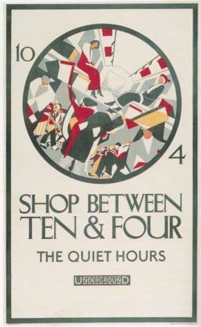 Vintage London Underground poster - Shop between ten & four