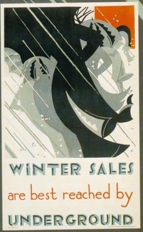 Vintage London underground poster - Winter Sales