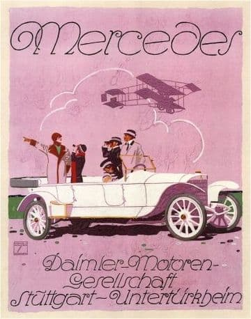 Vintage Mercedes advertisment poster