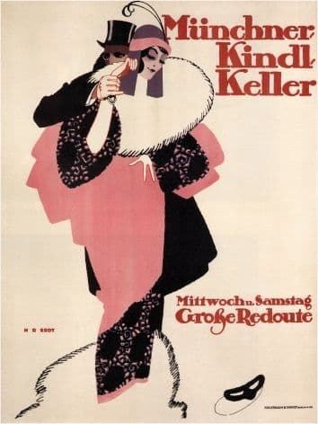 Vintage Munchner Kindl Keller Grobe Redoute German Dance Advertising Poster.