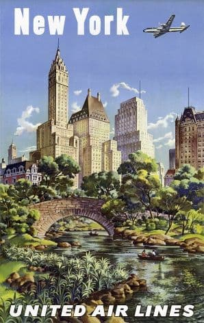 Vintage New york Travel Poster: United Air lines.