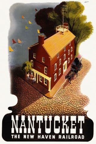 Vintage post war poster, Nantucket New Haven, Ben Nason