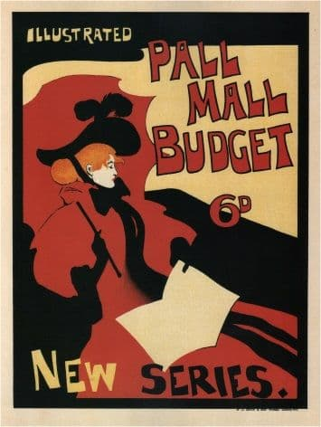 Vintage Poster, Magazine Cover Illustrated Pall Mall Budget, London, 1896, by Maurice Greiffenhagen