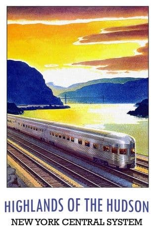 Vintage railway poster, New York central system