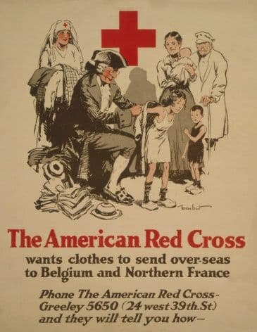 Vintage Red Cross Poster Appealing for Clothes