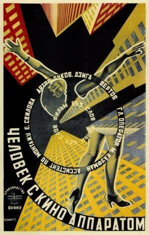 Vintage Russain Poster for the film 'Man with a Movie Camera' 1929
