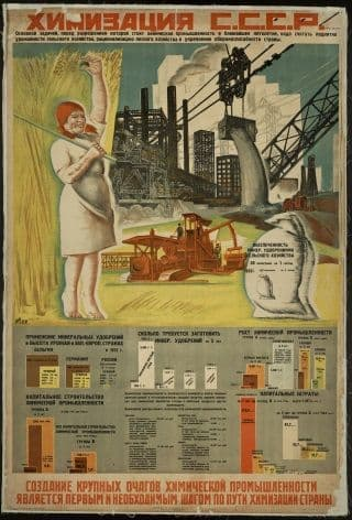 Vintage Russain poster - Increase our exports