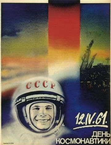 Vintage Russian poster - 12.5.61 Cosmonauts' Day.