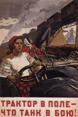 Vintage Russian poster - A tractor in the field is worth a tank in battle.