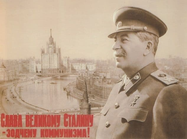 Vintage Russian poster - Glory to the Great Stalin