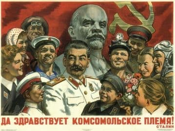 Vintage Russian poster - Long live the Komsomol generation! Stalin