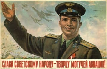 Vintage Russian poster - Praise to the Soviet people, creators of mighty aviation!