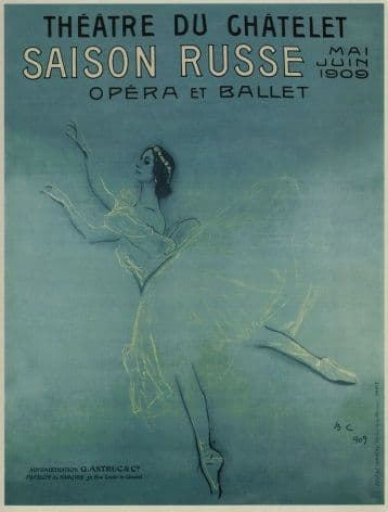 Vintage Russian poster - Russian Ballet and Opera in France