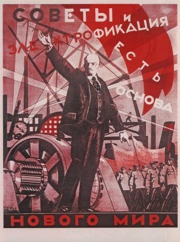 Vintage Russian poster - The Soviets and electrification make up the base of the new world 1924