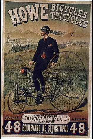 Vintage Scottish cycling poster - Howe bicycles/tricycles