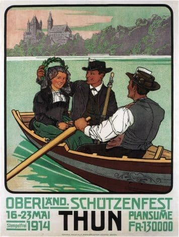 Vintage Swiss shooting and fishing festival poster