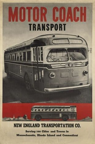 Vintage transport poster - Motor coach transport America