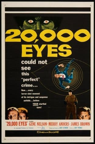 Vintage Travel Poster, 20,000 Eyes Movie (1961)