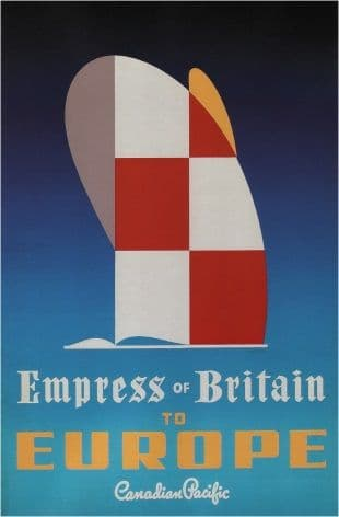 Vintage Travel Poster Canadian Pacific Empress of Britain to Europe