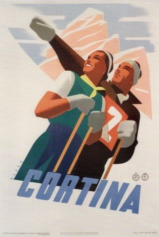 Vintage Travel Poster Cortina Italy