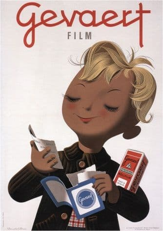 Vintage Travel Poster Gevaert Film