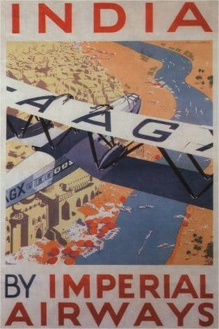 Vintage Travel Poster Imperial Airways India