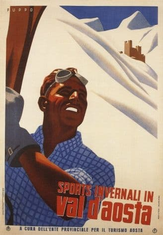Vintage Travel Poster  Invernali In Val D'Aosta Italy