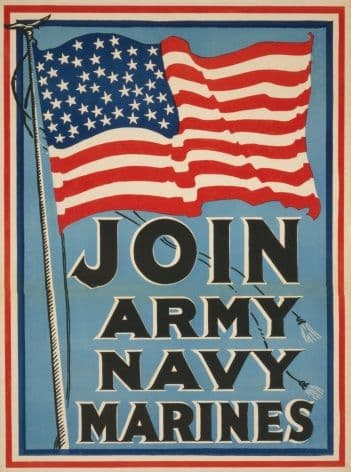 "Vintage Travel Poster ""Join Army Navy Marines."""