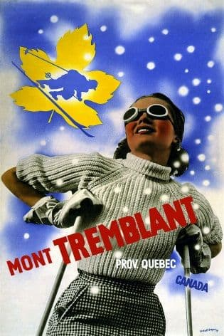 Vintage Travel Poster Mont Tremblant Canada