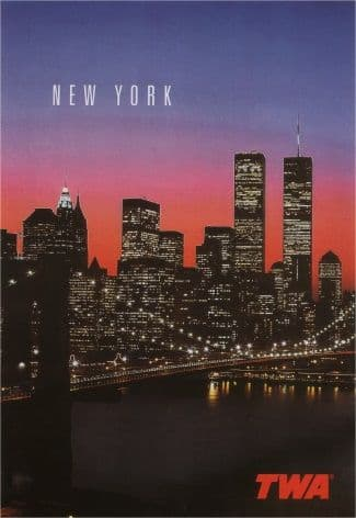 Vintage travel poster, New York, TWA