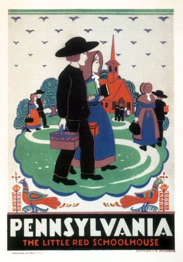 "Vintage Travel Poster Pennsylvania  ""The Little Red Schoolhouse"""