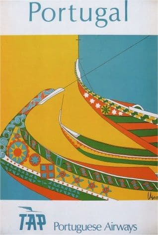 Vintage Travel Poster Portuguese Airways