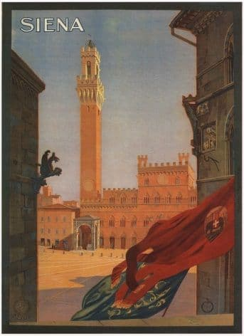 Vintage Travel Poster Siena Italy