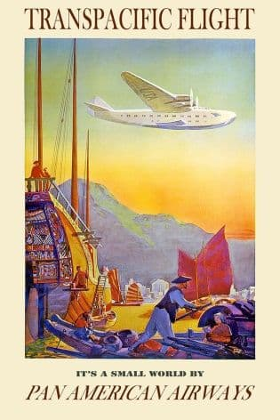 Vintage Travel Poster Transpacific Flight