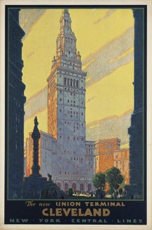 Vintage travel poster, Union terminal Cleveland