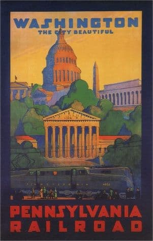 Vintage Travel Poster Washington Pennsylvania Railroad