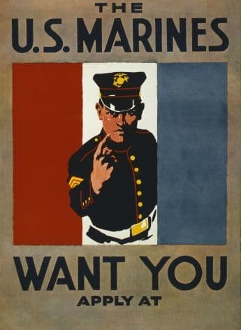 "Vintage US Marines ""We Want You"" Enlisting Poster"