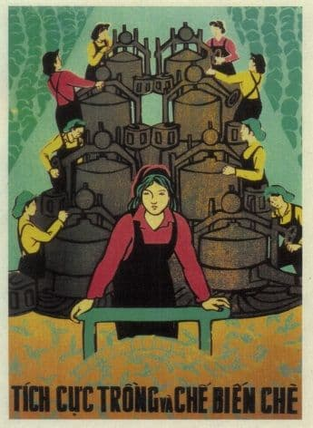 Vintage Vietnam Propaganda Poster, Woman at Work
