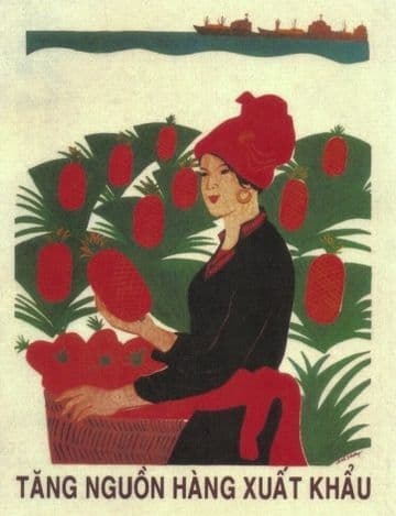 Vintage Vietnam Propaganda Poster Woman picking fruit