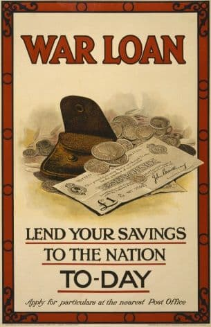 "Vintage ""War Loan, Lend your savings to the nation today"" Poster"