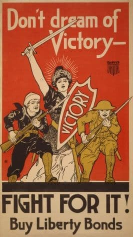 Vintage War Poster Don't dream of victory - Fight for it! Buy Liberty Bonds