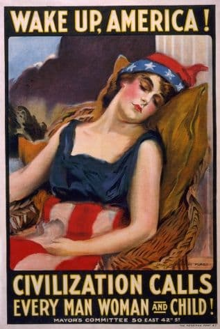Vintage War Poster Wake up America! Civilization calls every man, woman and child!