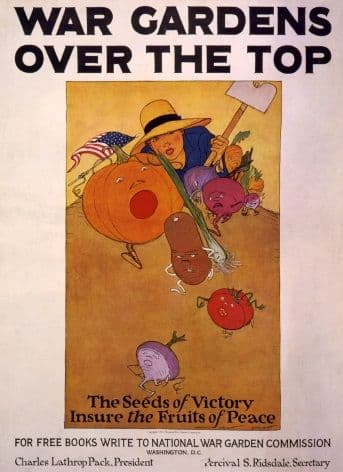 Vintage War Poster War gardens over the top, the seeds of victory insure the fruits of peace