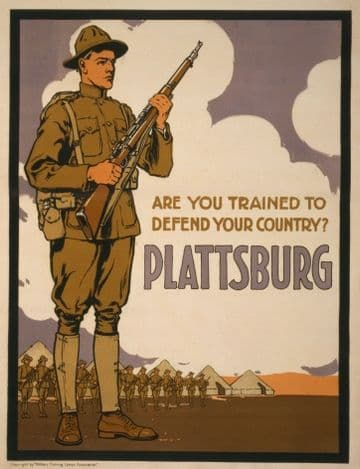 "Vintage World War Poster ""Are you trained to defend your country? Plattsburg"""
