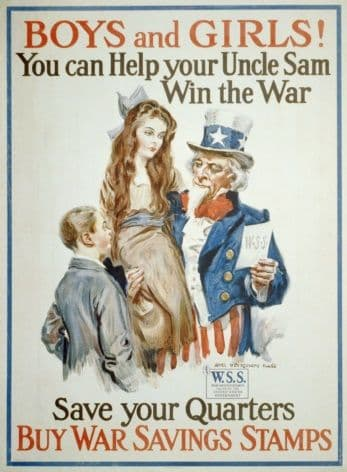 """Vintage World War Poster 'Boys and Girls! You Can Help Your Uncle Sam Win the War."""""""