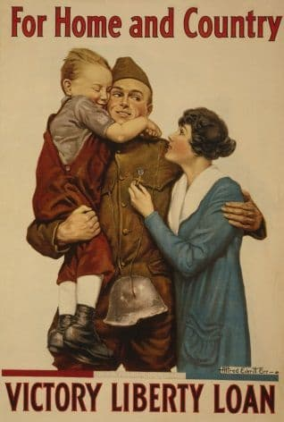 """Vintage WW1 American Poster Army """"For Home and Country"""""""
