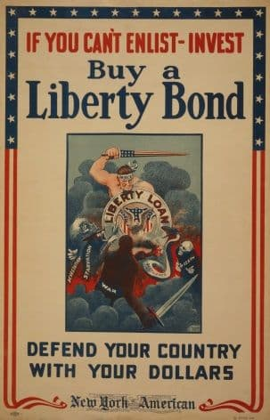 """Vintage WW1 American Poster """"If you cant enlist-Invest"""""""