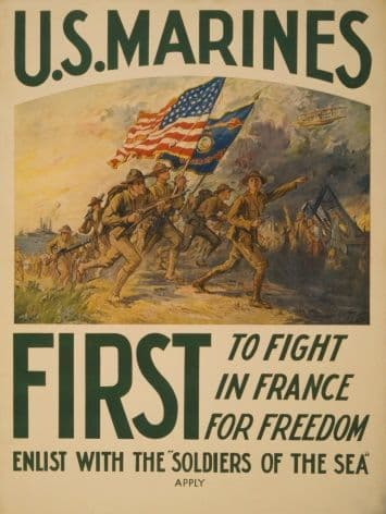 Vintage WW1 Enlisting Poster for the Marines