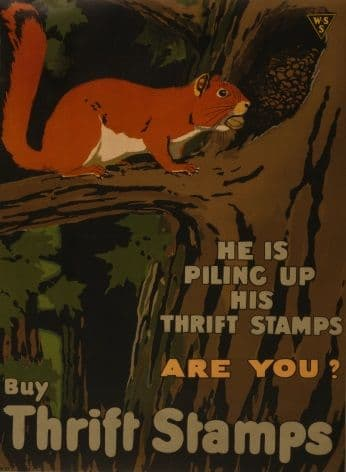 """Vintage WW1 Poster """"Buy Thrift Stamps"""""""